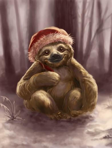 Christmas-Sloth-valerie-black